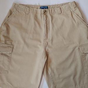 Finish Line 365 Khaki Cargo Wide Leg Shorts